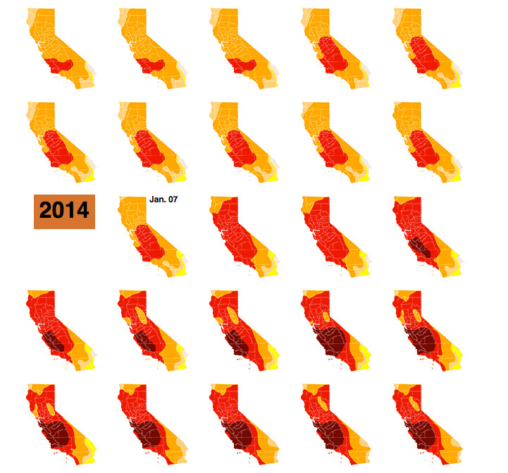 California drought map: This interactive infographic from the L.A. Times uses color and repetition to show how the lack of rain has affected California