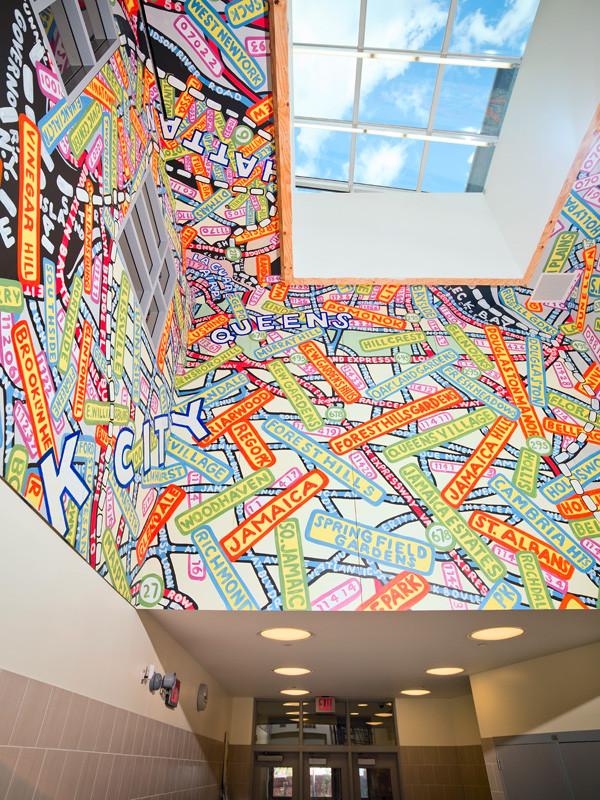 Paula Scher's recent murals at Queens Metropolitan Campus, a new public