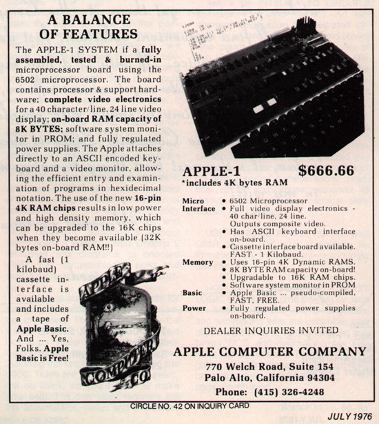 One of the first Apple ads. 1976. 4K RAM.