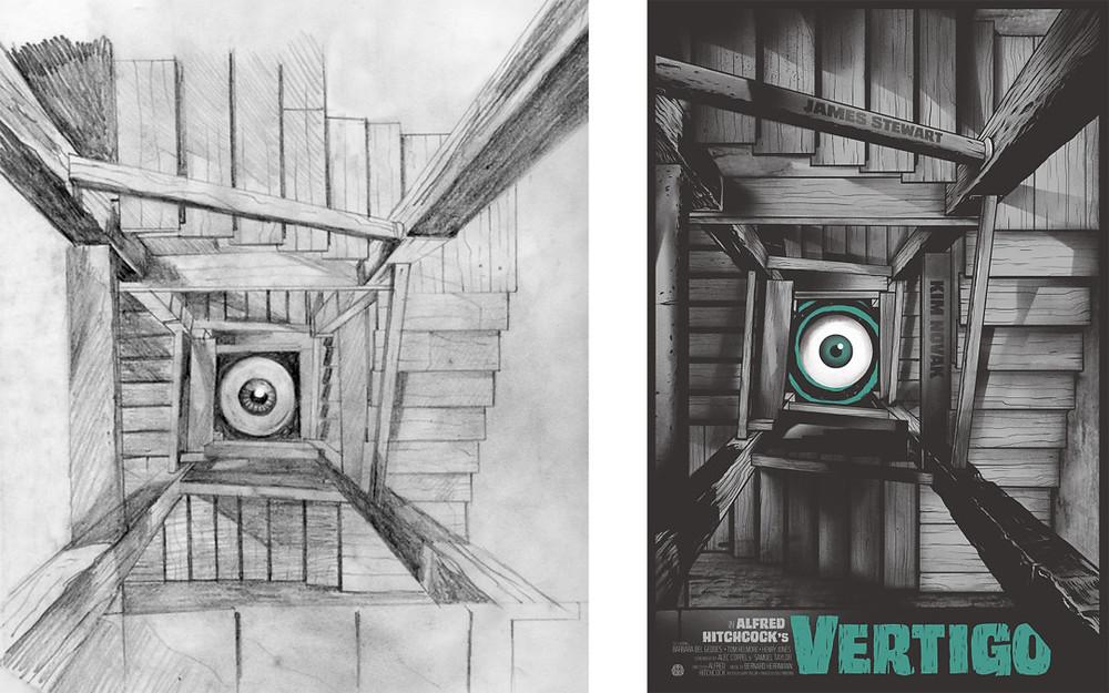 'Vertigo' sketch (L) and final (R) for Mondo by Gary Pullin