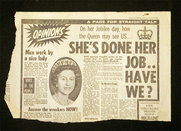Found newsprint, English queen