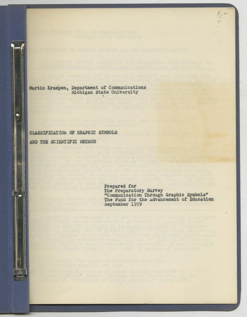 "a document from the Modley collection written in 1959, ""The Classification of Graphic Symbols and the Scientific Method."""