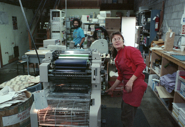 Cheryl DeYoung and Guillermo Prado, Inkworks, 2827 7th St, Berkeley, circa 1995. Photo by Lincoln Cushing.
