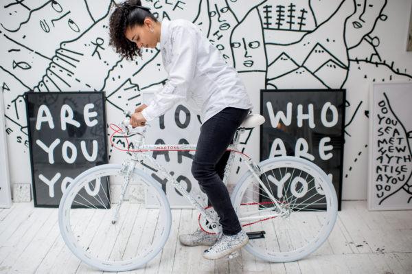 Shantell Martin on a bike