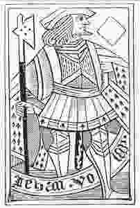 WOODBLOCK PLAYING CARD, C. 1400