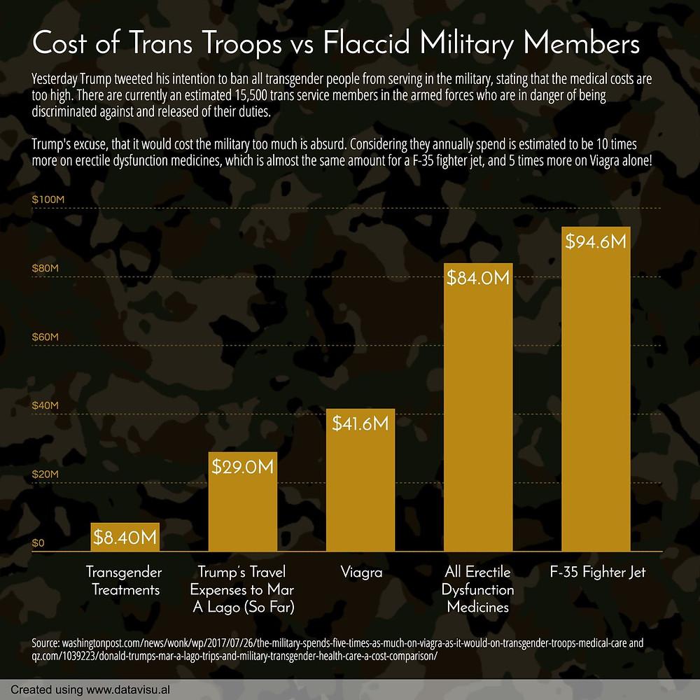 cost of trans troops vs flaccid military members