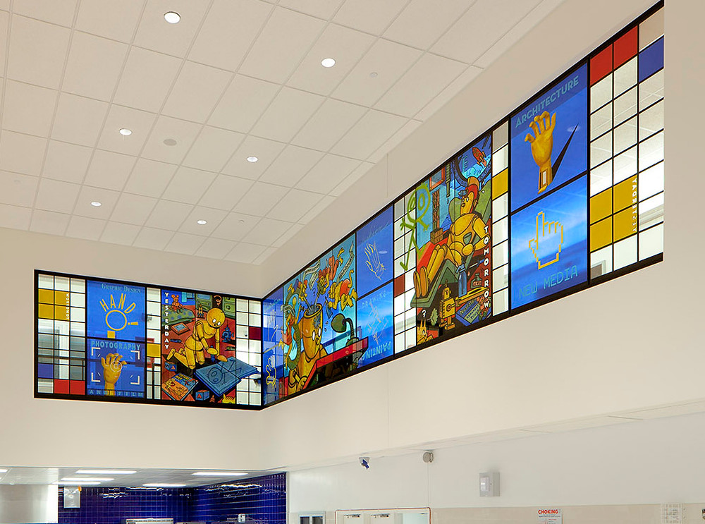 Art Spiegelman's stained glass windows at the High School of Art and Design.