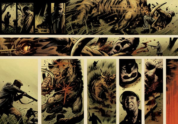 """Iron Siege"" comics spreads (pre-lettering), Trevor Goring"
