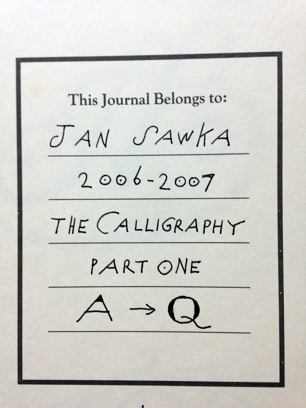 Sawka's personal journals about calligraphy