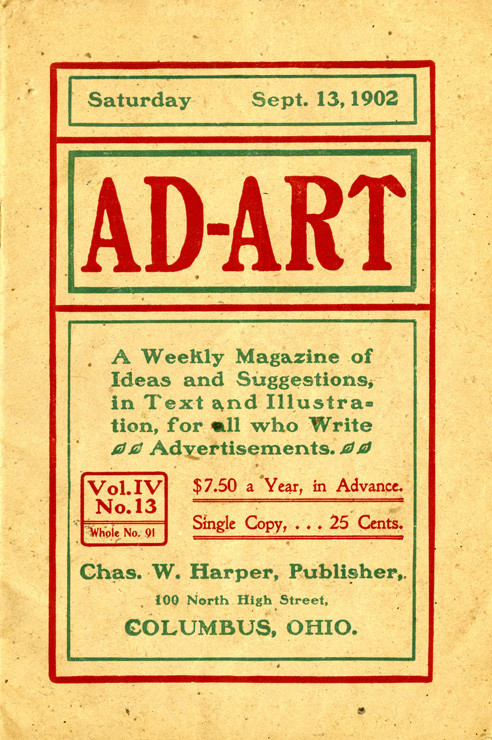 Graphic design advertising for an early advertising magazine