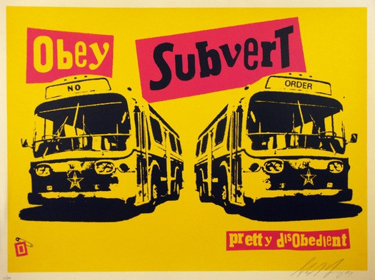 Pretty Disobedient, screenprinted poster by Shepard Fairey, USA, 2001. Signed by Fairey