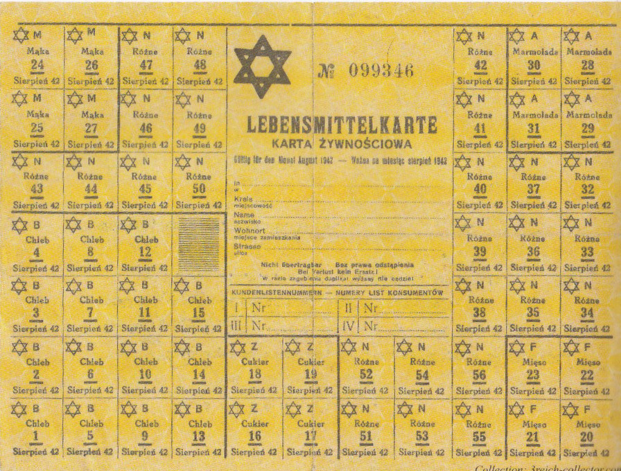 Rationing coupons for foodstuffs issued and used in the Warsaw Ghetto.