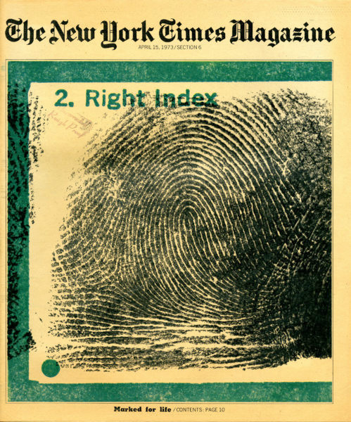 Detail from a NY Police Department 'Criminal Fingerprint Record' card.