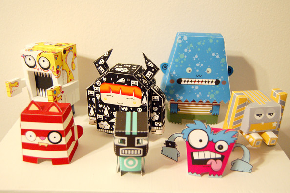 Clockwise from upper left: El Ogro (by Vinyl or Die), Vini the Viking (by Dikids), Obi (by Bean Helen), Macho Mecha (by Marshall Alexander), Crazy Top (by Jennifer Rouse), Foldabot (by Marshall Alexander), Bang Bang (by Dolly Oblong).