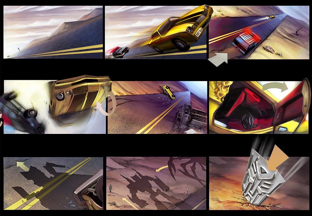 """Transformers"" storyboard, Aaron Sowd"