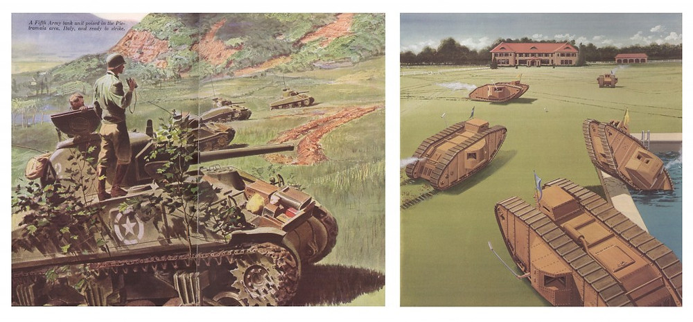 """Left:An illustration from """"Tanks Are Mighty Fine Things"""". Right: Another McCall illustration titled """"Tank Polo""""."""