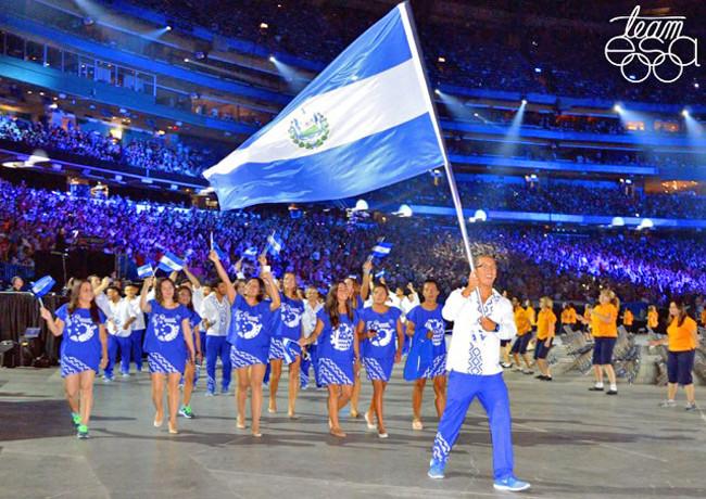 """""""Team ESA""""(Team El Salvador) wearing uniforms designed by Larios in the opening-ceremony procession in Toronto."""