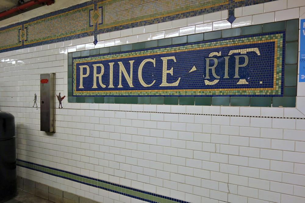 subway station sign- Prince RIP