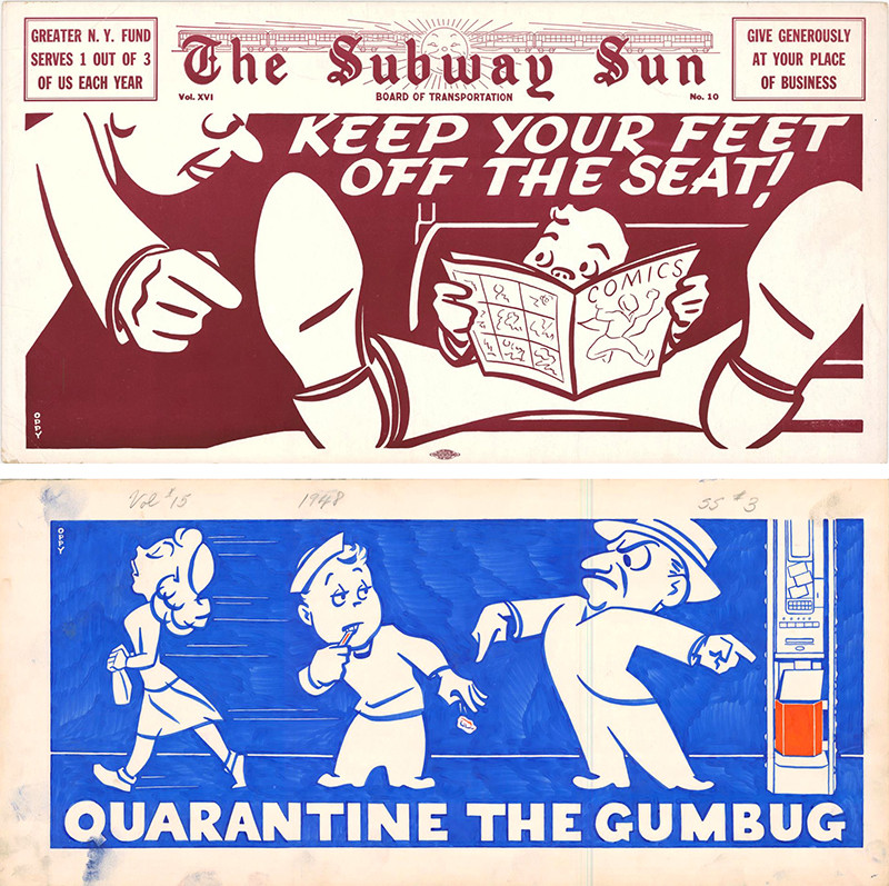 Amelia Opdyke Jones: Quarantine the Gumbug!, 1948, and Keep Your Feet Off The Seat!, 1949. New York Transit Museum, William J. Jones Collection. Gift of William J. Jones and Margaritta J. Friday