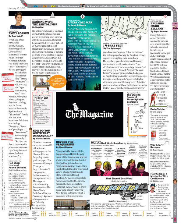 """""""The One-Page Magazine"""" design for The New York Times Magazine, 2011"""