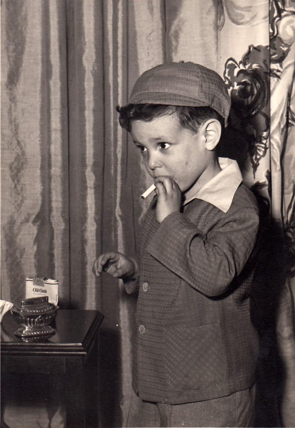 A boy smoking a cigarette