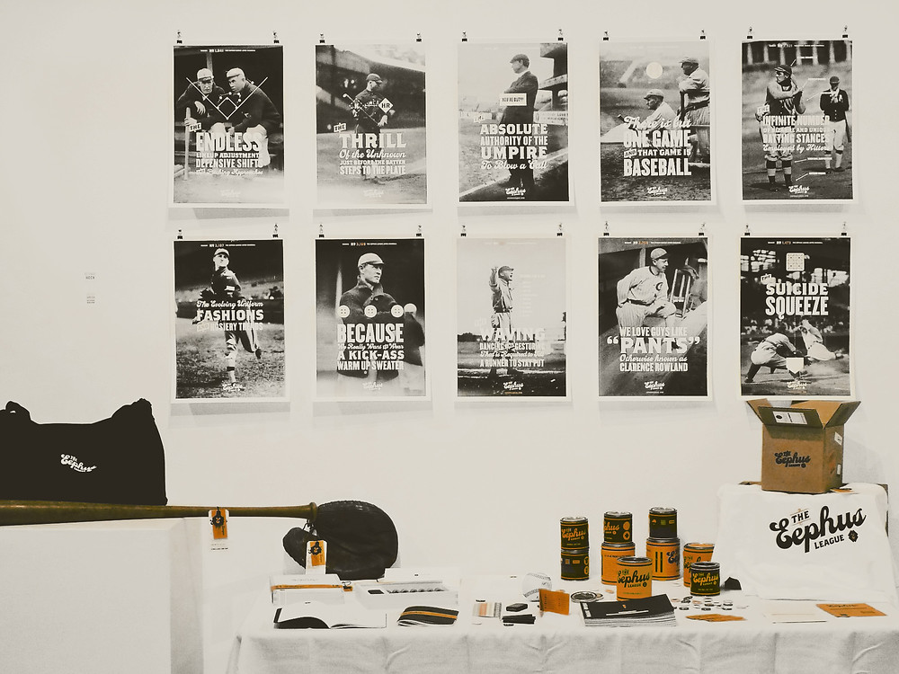 A display of Eephus League merchandise.
