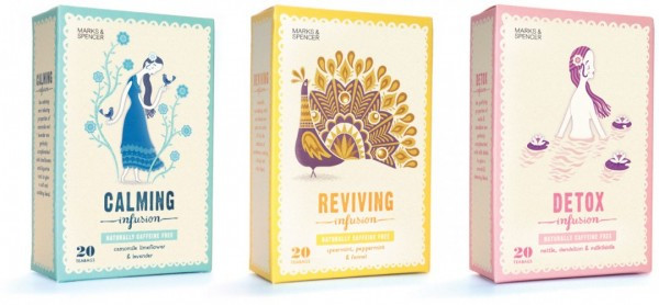 'Naturally Caffeine Free Tea' Three Artworks for Marks & Spencer by Stuart Kolakovic