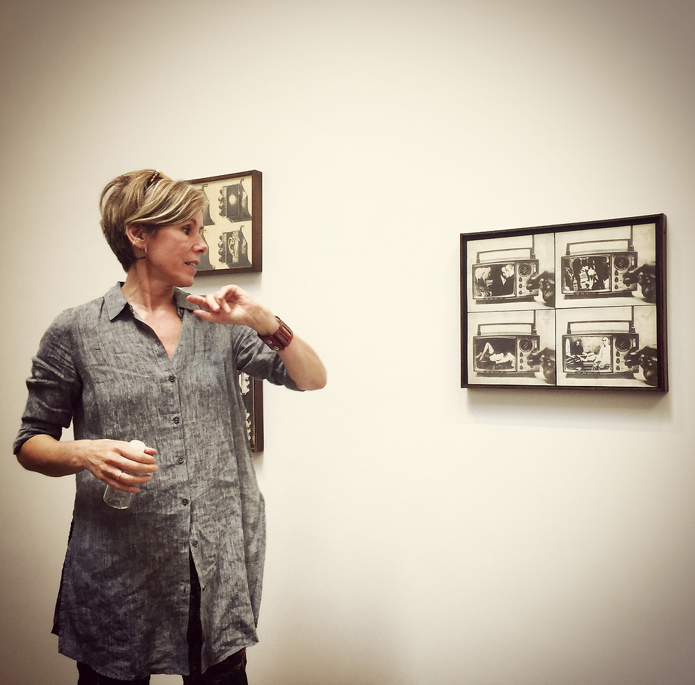 Curator Claudia Bohn-Spector discussing the Wallace Berman exhibit at the Kohn Gallery. photo: M Dooley.