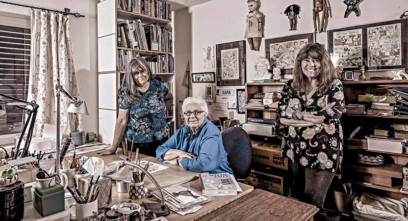 Roberta Gregory, Joyce Farmer, and Mary Fleener photo by Greg Preston
