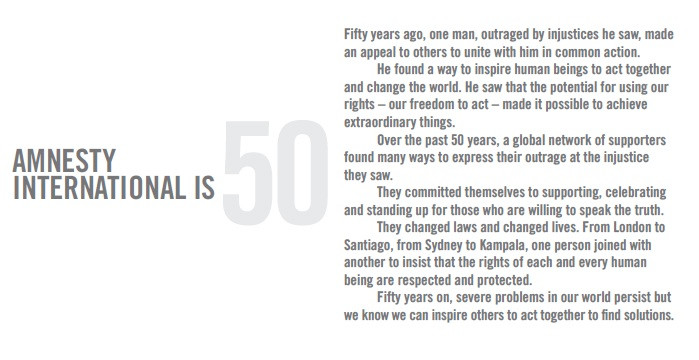 Amnesty International is 50