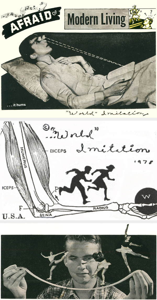 """Laurie O'Connell, Anne Connor, Jeff Rankin, Steve Thomsen, Michael Uhlenkott: from """"World Imitation"""" magazines (ten issues), 1977–82."""
