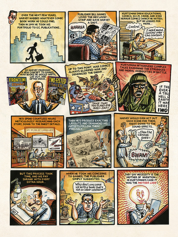 "Peter Kuper's graphics for Harvey Kurtzman swings from playful ""Hey, Look!"" homage to full-blown ""Mad""-ness."