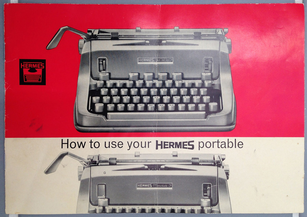 Black, white plus one spot color (red) instruction manual for Hermes portable typewriter ca. 1960.