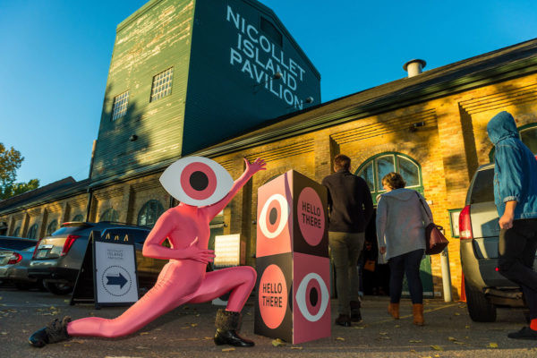 Entrance to 2017 Eye on Design conference, complete with pink-suited mascot.
