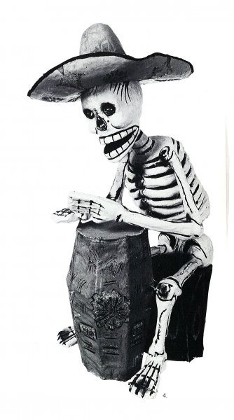 Fig. 4—Papier-mâchè sculpture of a skeleton drummer by Pedro Linares. Courtesy of UCLA Museum of Cultural History; photographer: Antonia Graeber