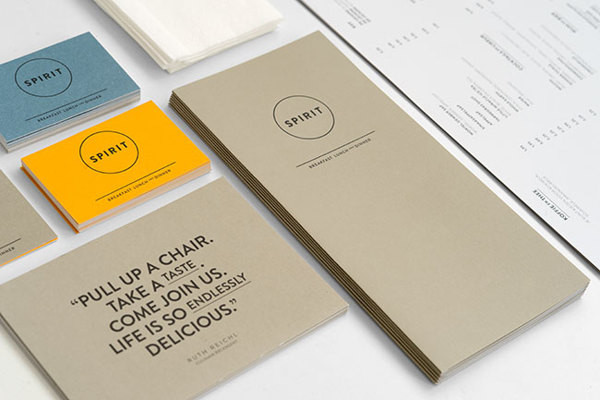 Restaurant Spirit, a vegetarian restaurant in Rotterdam, with concept and branding by Studio Beige. Via Behance: http://on.be.net/YQF5Od