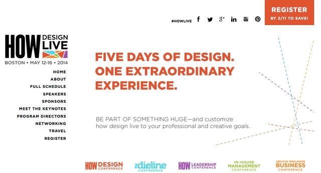 HDL Homepage, Andrew Gibbs from The Dieline on designing for HOW Design LIve