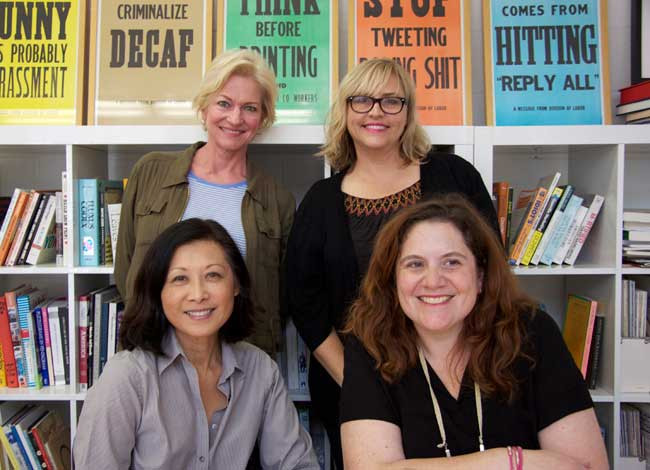 """The """"100 Reasons to Panic"""" team, with the exception of illustrator, Gemma Correll. Top row, from left to right: Jamie Thompson Stern, editor-at-large and Erin Conley, managing editor. Bottom Row: Mia Natsume, design director and Rebecca Braverman, assistant editor."""