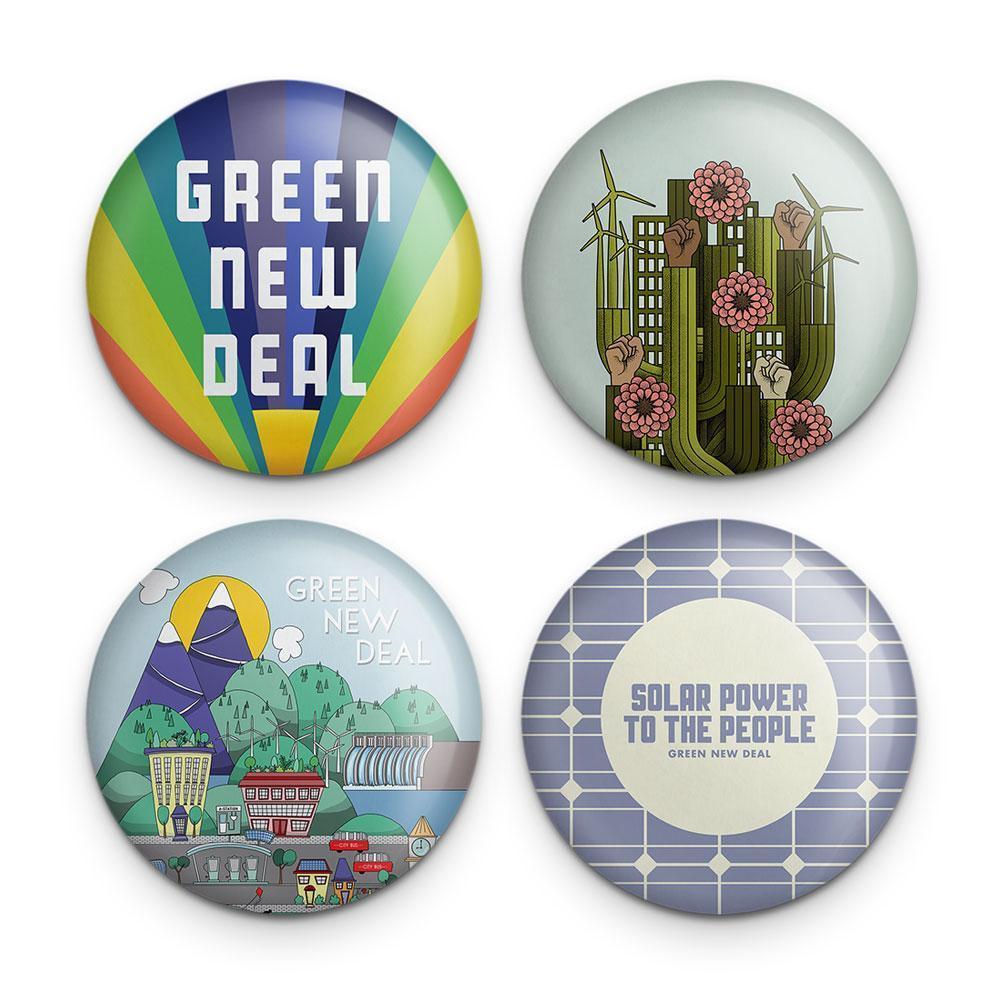 Green new deal button, 4 pack