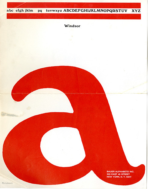 Bauer specimen sheet cover designed by Mo Lebowitz, 1970s.