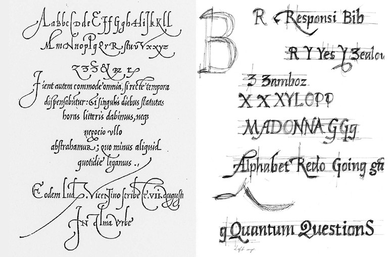 Arrighi's 16th-century lettering (left) and Captan's sketches for her Cancellarecta typeface