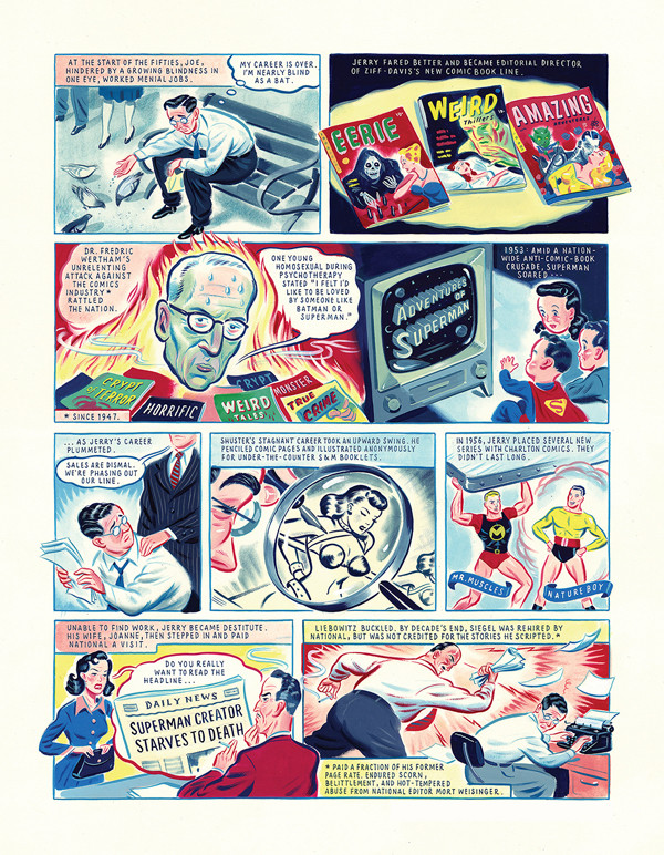 Ryan Heshka's art treatment enlivens an otherwise matter-of-fact Jerry Siegel and Joe Shuster story.