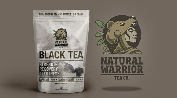 natural warrior tea product label design and logo; simplicity in design