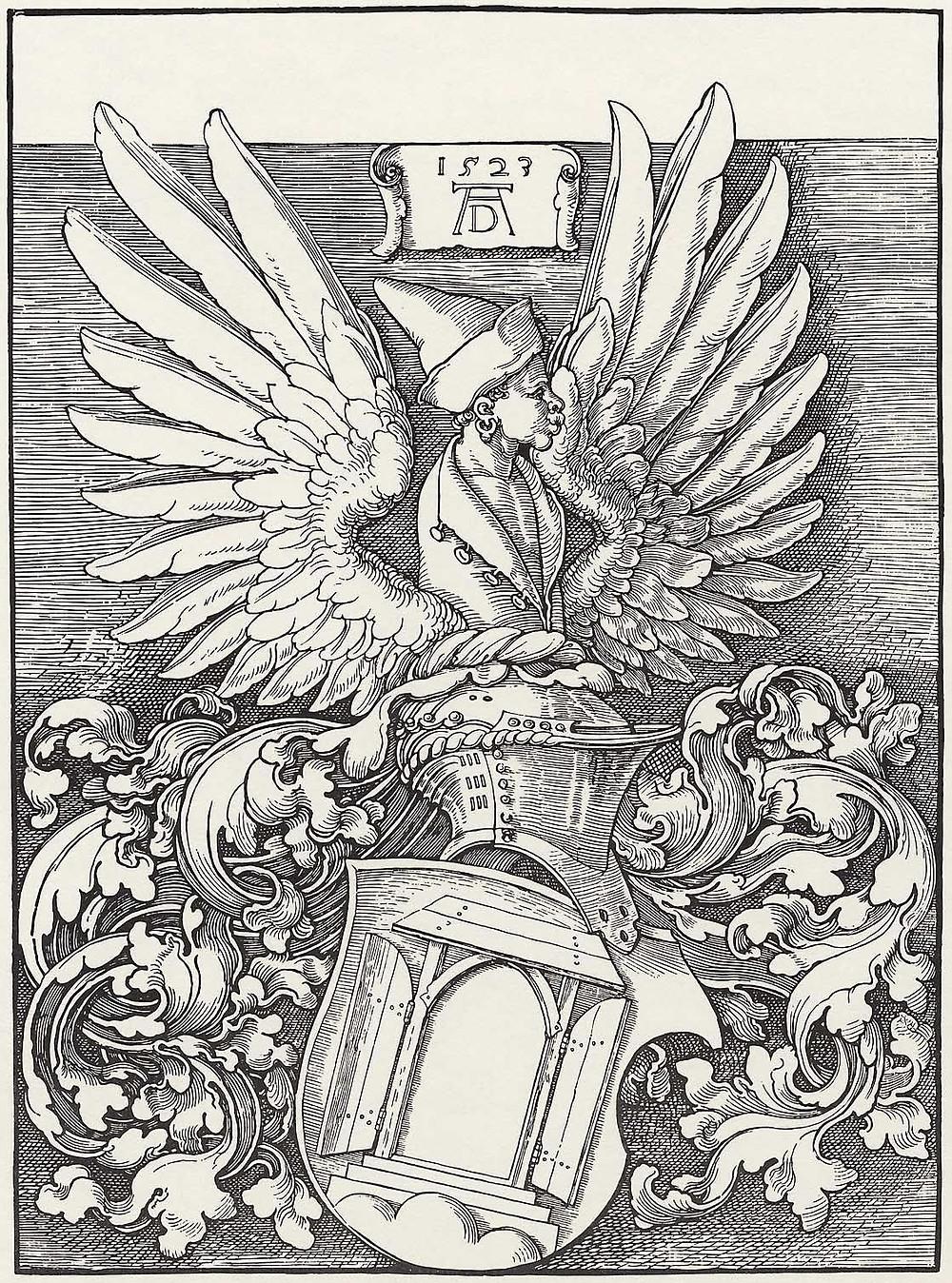 "Dürer's family coat of arms, with a pun on ""door"""