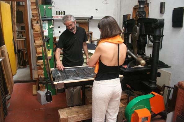 Lucio Passerini and Alta Price at the Albion handpress