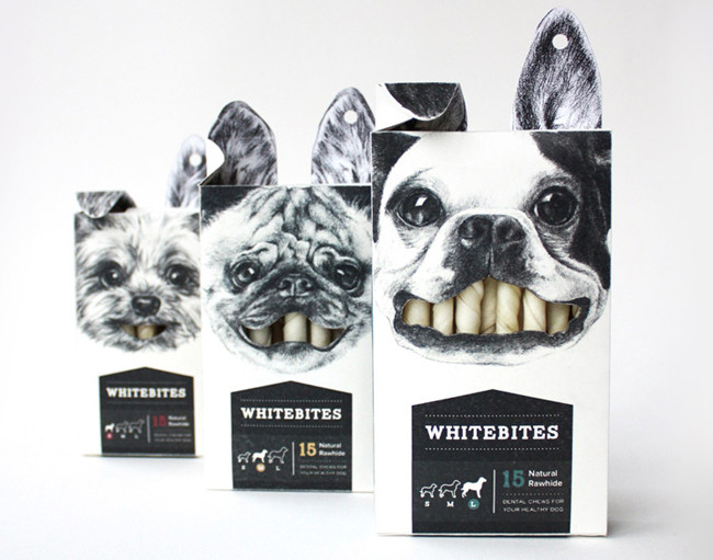 This clever packaging Whitebites rawhide sticks by Cecila Uhr stands out on the shelves.