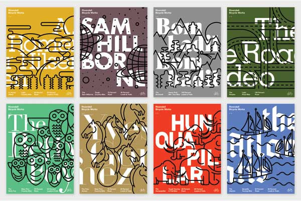 Poster series created for Rivendell Bicycle Works in Walnut Creek, CA, with one poster representing each Rivendell bike.