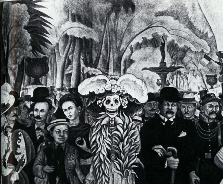 "Fig. 9—Center panel from Diego Rivera's mural, ""Dream of a Sunday Afternoon in Alameda Park,"" located in Hotel del Prado, Mexico City. The mural features José Guadalupe Posada's ""Caterina"" skeleton, the female dandy, as well as portraits of Posada (right), Diego Rivera as a child (left), and his wife, Frida Kahlo (left, second row)."