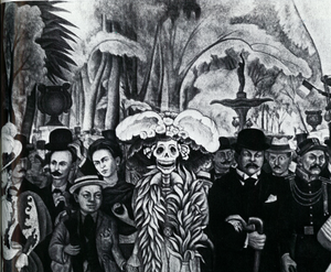 """Fig. 9—Center panel from Diego Rivera's mural, """"Dream of a Sunday Afternoon in Alameda Park,"""" located in Hotel del Prado, Mexico City. The mural features José Guadalupe Posada's """"Caterina"""" skeleton, the female dandy, as well as portraits of Posada (right), Diego Rivera as a child (left), and his wife, Frida Kahlo (left, second row)."""
