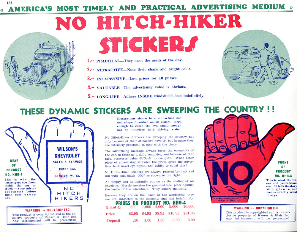 """""""Flashy Pennants,"""" """"Advertising Pencils"""" and """"No Hitch-Hiker Stickers."""""""